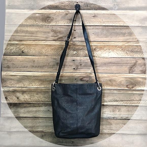 Tignanello Handbags - TIGNANELLO black textured leather bag with silver